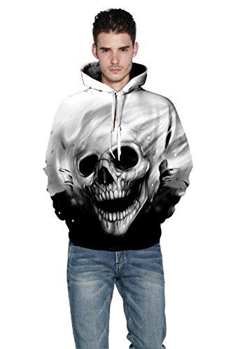ALICECOCO Kapuzenpulli Herren/Damen 3D Druck Pullover Sweatjacke Cartoon Skull/Wolf Hoodie Weihnachten Langarm Slim Fit Sweatshirt mit Taschen Unisex Skull