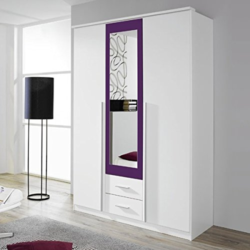 Kleiderschrank weiß / lila 3 Türen B 136 cm brombeer Schrank Drehtürenschrank Wäscheschrank Spiegelschrank Kinderzimmer Jugendzimmer
