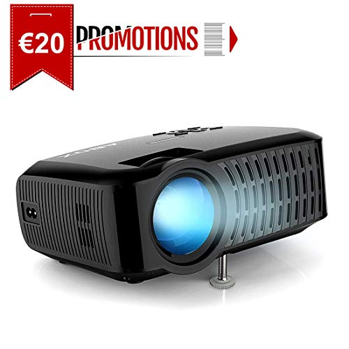 """Proyector ABOX 3000 Lúmenes, Resolución Nativa 720p LED Mini Portátil Proyector A2, Soporte 1080P Full HD, 32 - 176"""", Apoyo Fire TV Stick/Xbox/PS4/PC/Mac/iphone/Android con mutilpes interfaces"""