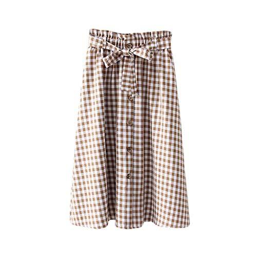 BASACA Jupe 2019 Printemps Été Nouveau Femme Fille Madame Fête Mode Lâche Mi Longueur Plaid Minceur Mode Jupe Taille Haute (Kaki, 36)