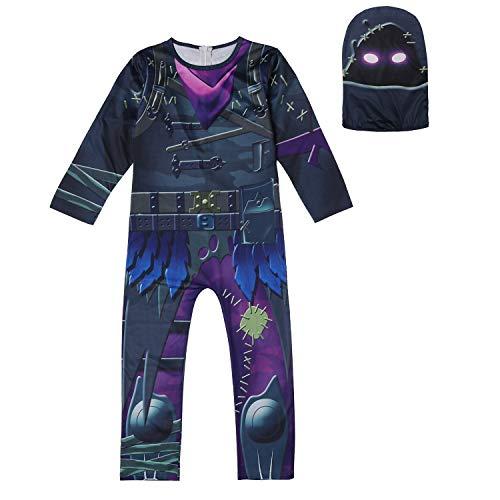 LQSZ Schädel Trooper Kostüm Kind Halloween Karneval Cosplay Unisex Overall Spandex Onesies Für Geschenk (Gruselige Kostüm Aus Der Vergangenheit)
