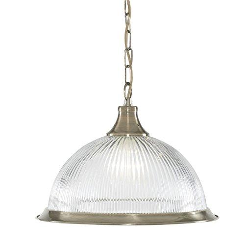 Suspension 1 ampoule American Diner, en laiton antique et verre