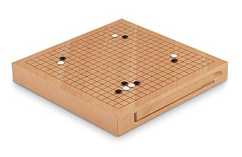 Gesellschaftsspiel Brettspiel Go Spiel der Götter aus Holz natur braun, 30,5 x 30,5 x 4,5 cm, Denkspiel Strategiespiel Holzspiel, Geschenk Reisespiel