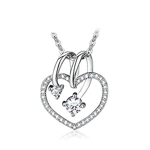 925Argent Collier pendentif/Chaîne courte clavicule en forme de coeur/ cubic zirconia collier/ birthday girl-A