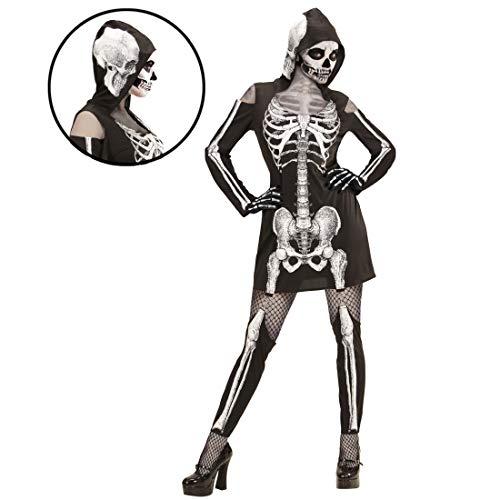 NET TOYS Skelett-Kostüm mit Kapuze | Schwarz-Weiß in Größe S (34/36) | Schaurige Damen-Verkleidung Knochenfrau Gerippe | Passend gekleidet für Halloween & Horror-Party