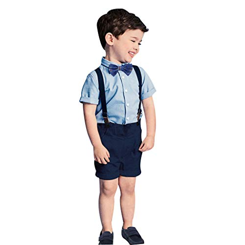 MRULIC Infant Baby Jungen Gentleman Strampler Hosenträger Strap Shorts Outfits Sets Sommer Kurzarm Shirt und Hose (Kinder Minion Anzug)