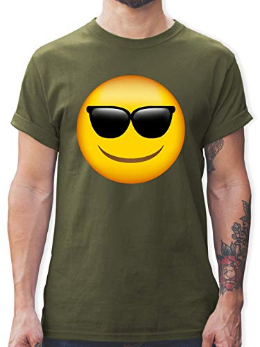 Comic Shirts - Emoji Sonnenbrille - L - Army Grün - L190 - Herren T-Shirt und Männer Tshirt