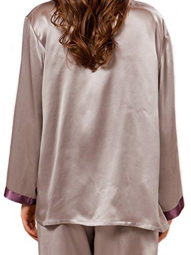 ELLESILK 100% Seide Pyjama Lange Ärmel für Frauen, Seide Schlafanzug, Damen Nachtwäsche, 22 Momme Platin/Rosinfarbe