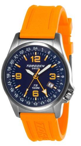 Torgoen T05306 - Reloj analógico de cuarzo para hombre con correa de plástico, color naranja
