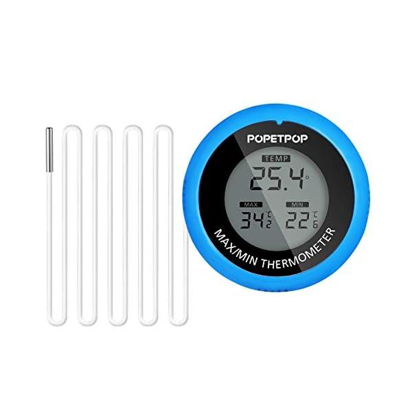 POPETPOP LCD Digital Aquarium Thermometer High Precision Digital Fish Tank Thermometer (Blue)