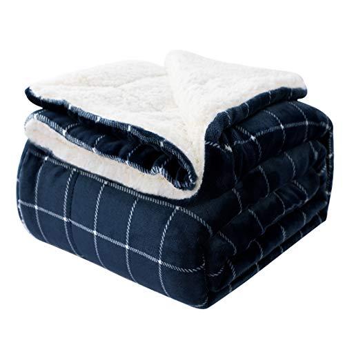 sourcing map Flanell Fleece Wende Decke 520GSM Antistatisch Fuzzy Super Weich Warm Double-Sides Decken für Bett Couch, Navy Blue Plaid, Twin(59
