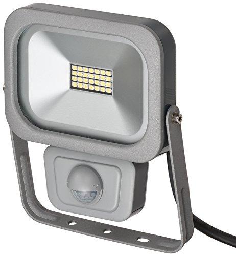 Brennenstuhl Slim LED Strahler außen mit Bewegungsmelder (Strahler zur Wandmontage, Leuchte IP54, LED-Fluter mit 28 hellen SMD-LEDs) Farbe: silber