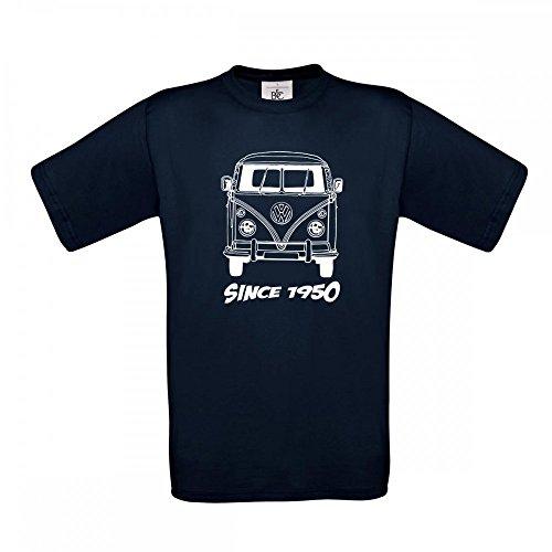 T-Shirt VW Bulli T1 - Ein Tolles Shirt für diese Kultmobil - Größe S - 5XL, T-Shirt Größe:4XL;Farbe:Schwarz Navy Blau 003