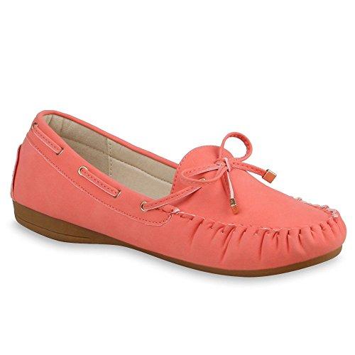 Damen Slipper Pastell Flats Schuhe Lederoptik Coral Schleife