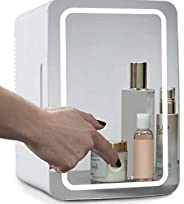 JNSW Mini Makeup Fridge, 8L Portable Cosmetic Refrigerator, Glass Panel And Led Lighting, Cooler/Warmer Freeze