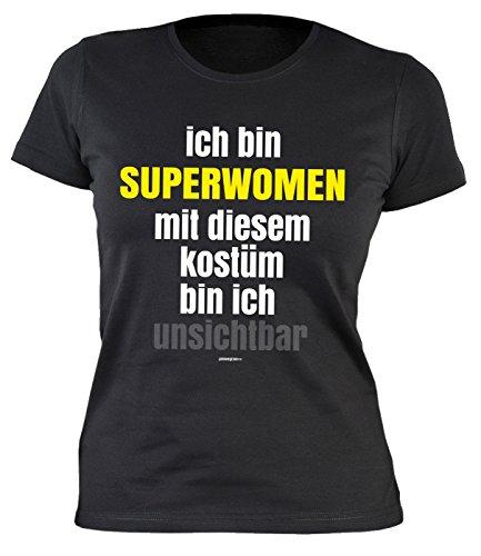 Fastnacht Girlie Shirt ::: Ich bin SUPERWOMAN und mit Kostüm unsichtbar ::: Karneval Fan und (Party Kostüme Gecken)