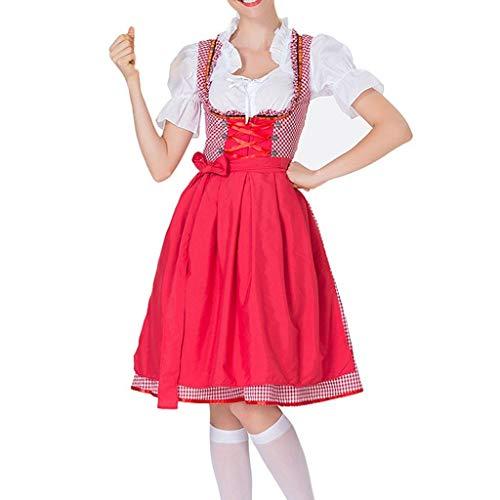 Happy Kostüm Schürze - Innerternet Damen Vintage Verband Schürze Magd Kostüm Bayerische Oktoberfest Kostüme Mädchen Kariertes Cosplay Kostüme