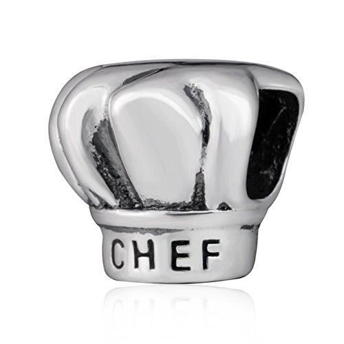 Gorro de cocinero de cocina Soulbead I love 925 para pulsera de plata de ley de cuentas para pulsera elástica de bolas con producto genérico europeo