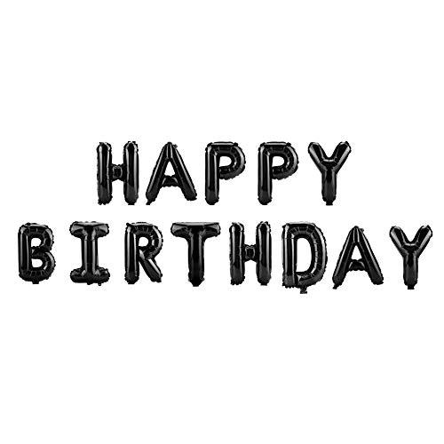 16 Zoll Buchstaben Happy Birthday Aluminium Folienballons Party Dekoration Hochzeitsdekor Kinder Alphabet Luftballons Baby Shower Supplies (13 stücke / 91 stücke)(Schwarz)