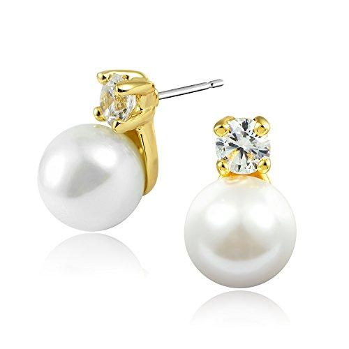 8mm círculo perfecto Naturales pendientes de perlas de concha para mujeres Chapado en oro de 18 quilates joyería de perlas