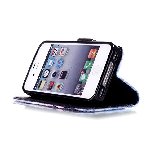 MOONCASE Étui pour iPhone 4 / 4S Printing Series Coque en Cuir Portefeuille Housse de Protection à rabat Case YB12 A04 #1117
