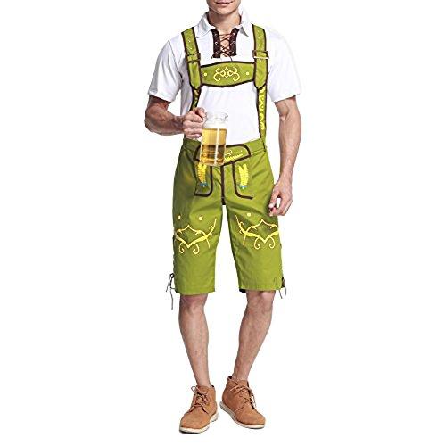 FeelinGirl Herren Trachten Kniebundhose Jeans Hose kostüme mit Hosenträgern XL (Mit Hosenträgern Kostüme Männer)