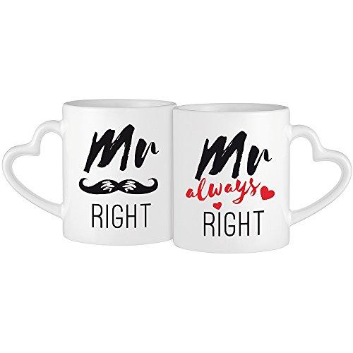2er Set weiße Tassen mit Herzhenkel Aufdruck - Mr Right & Mr Always Right -- Moustache-Motiv - Kaffeetassen für gleichgeschlechtliche Paare - Geschenke für Hochzeitspaare - Valentinstag - Standard