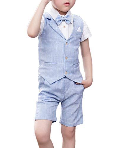 Quge Completo Bambino Ragazzo Vestiti Gilet + Pantaloncini + Camicia Compleanno Vestito 3 Pezzi Azzurro S
