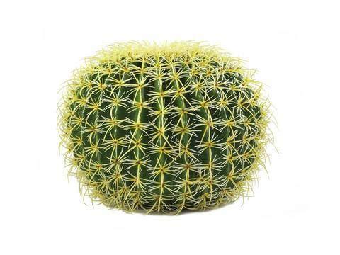 artplants.de Lot 2 x Cactus Artificiel, en Boule, Vert-Jaune, 35cm - 2 pcs Plante de décoration Exotique - Faux Cactus