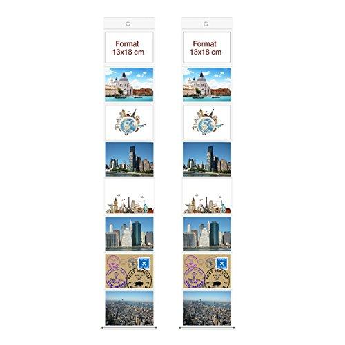 2 Fototaschen 13 x 18 cm für je 8 Fotos Querformat Deko Foto Bilder Karten Halter Fotowand Fotovorhang Fotohalter Kartenhalter