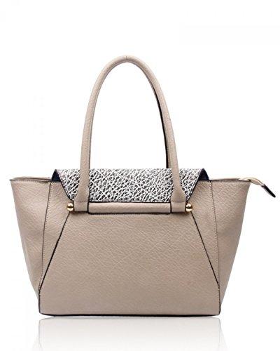 LeahWard® Mode Schultertaschen Zum DamenQualität Damen Tragetasche Handtaschen 160103 Grau
