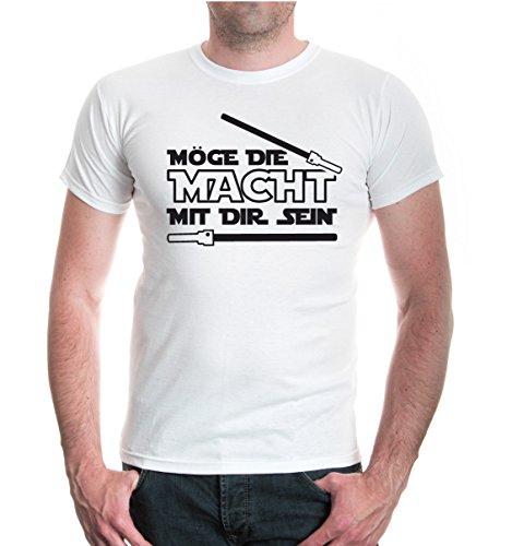 buXsbaum® T-Shirt Möge die Macht mit dir sein White-Black