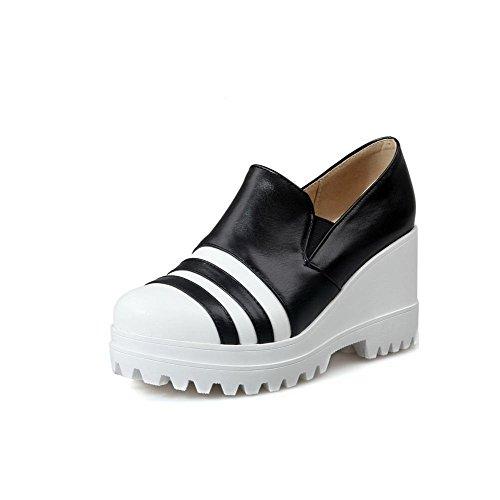 AllhqFashion Damen Hoher Absatz Rund Zehe Gemischte Farbe Pu Pumps Schuhe Schwarz