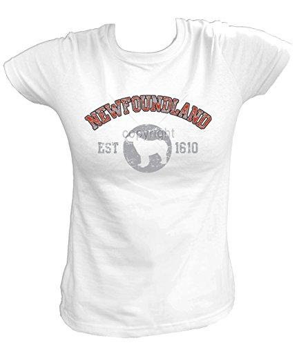 Artdiktat Damen T-Shirt - Neufundländer Newfoundland - Old School Est. 1610 Größe XXL, Weiß