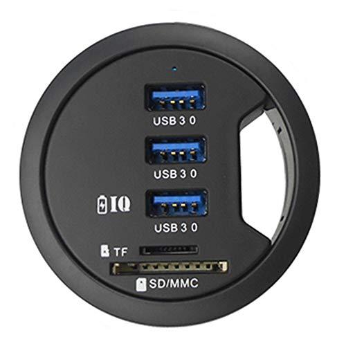 USB C HUB, Mount In Desk 3 Ports LED Multifunktions Typ C USB 3.0 Adapter Hub Splitter Erweiterung, für PC/Tablet / Smartphones, mit SD-Kartenleser (Schwarz)