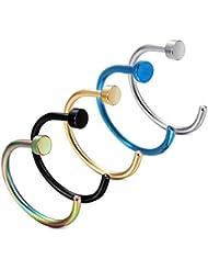 5 pièces Anneaux de nez Piercing acier cadeau de titane UWILD ® 5x titane nez en acier chirurgical perçant anneau de piercing nez nez anneaux Hoop anneau,, 8-10mm titane anneaux de nez en acier Clicker Piercingring (or 1 argent 1 noir 1 bleu 1 Seven Color 1) dans le nez de la lèvre bijoux piercing de corps (5 Pack 1.0 * 8 mm)