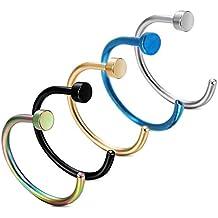 5 piece Gli anelli piercing naso titanio acciaio regalo UWILD ® 5x titanio naso acciaio chirurgico penetrante anello al naso penetrante naso anelli del cerchio anello,, 8-10MM titanio anelli nasali acciaio Clicker Piercingring (oro 1 argento 1 nero 1 blu 1 Sette colori 1) nel naso labbro penetrante ornamenti per il corpo (5 Pack 1.0 * 8 mm)