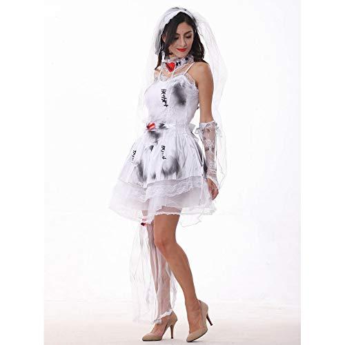 NCY Halloween Cosplay Zombie Teufel Vampir Braut Kostüm Womens Enthält Kopfschmuck Kragen Hand Ärmel Grauweiß,M (Womens Zombie Braut Kostüm)