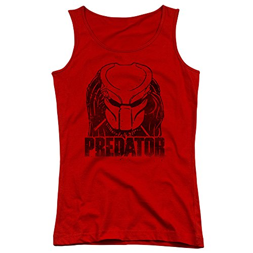 Predator Horror Movie Distressed Faded Alien Head Logo Juniors Tank Top Shirt