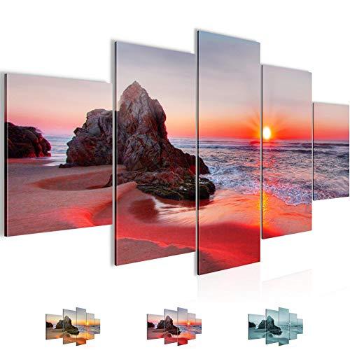 Bilder Sonnenaufgang Strand Wandbild 150 x 75 cm Vlies - Leinwand Bild XXL Format Wandbilder Wohnzimmer Wohnung Deko Kunstdrucke Rot 5 Teilig - MADE IN GERMANY - Fertig zum Aufhängen 609553b