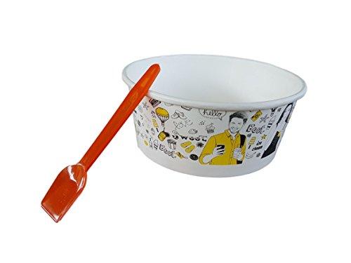 Kram 60Stück Tasse + Löffel Ice Cream 350ml Schüssel Klein Container Takeaway Fast Food Einweg Box Deckel Aufbewahrungsbox für Kinder Kid Party (Cream Container Ice Home Made)