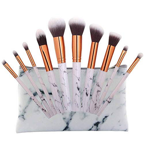Make-up Pinsel Set,Make-up Pinsel,Beauty Reisen Kosmetiktasche Mädchen Mode Multifunktion Make-up-Pinsel-Tasche 10 Make-up-Pinsel +1 Kosmetiktaschen (Mehrfarbig2)