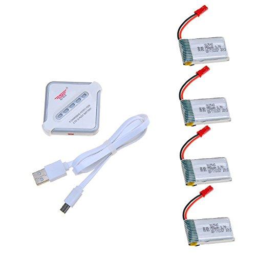 3,7V 750mAh Lipo Akku Batterie (4St) für MJX X400W X400 Holy Stone HS110 Sky Viper S670 MJX X400C X800 X300 X300C X200 X500 RC Quadcopter Drohne + 4 in 1 Batterien Ladegeräte