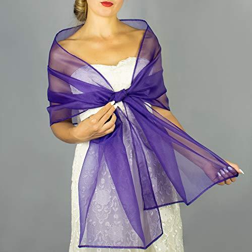 Chal organza color lavanda lila violeta violet novia