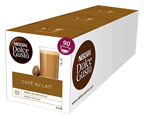 Nescafé Dolce Gusto Café au Lait, XXL-Vorratsbox, 90 Kaffeekapseln, ausgewählte Robusta Bohnen, leichter Kaffeegenuss mit Cremigem Milchschaum, Vorratsbox, 3er Pack Großpackung (3 x 30 Kapseln)