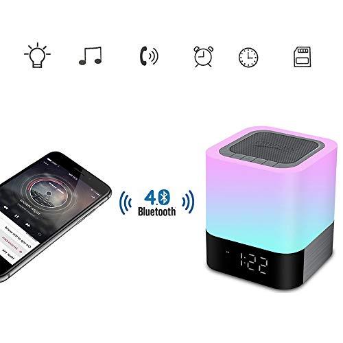 JXA Nachttischlampe Mit Wecker Bluetooth Lautsprechern,7-Farbwechsel LED Nachtlicht Drahtlosen Lautsprechern,Tragbaren Smart Touch Control Tischlampen,Geschenken Für Kinder
