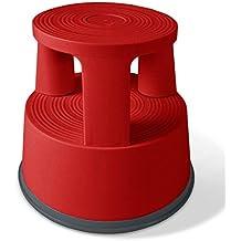 Scalino con ruote a scomparsa casa pura® | Capacità di carico 150 Kg | Polipropilene | 3 colori, rosso