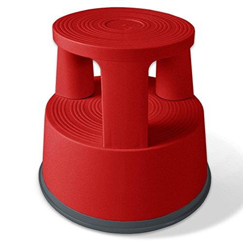 Casa pura scalino con ruote a scomparsa capacità di carico 150 kg | polipropilene | 3 colori, rosso