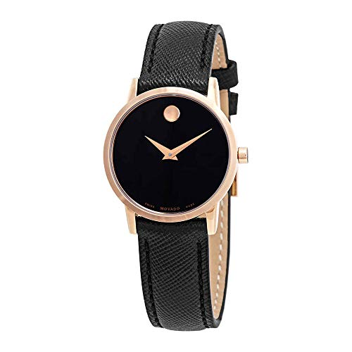 Movado Women's Museum 28mm Black Leather Band Quartz Analog Watch 0607206