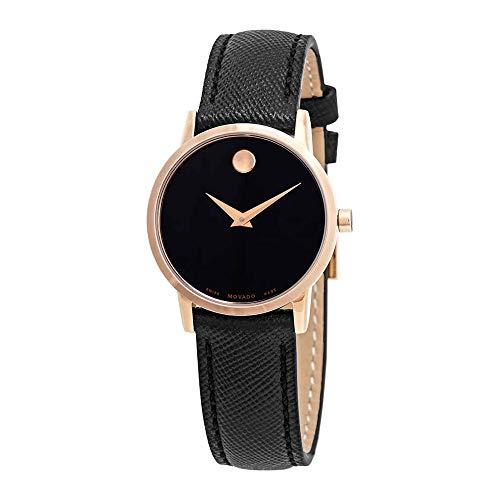 Movado Women's Museum 28mm Black Leather Band Quartz Analog Watch 0607206
